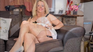 Lucy Gresty in lingerie with Betsy Blue bends over