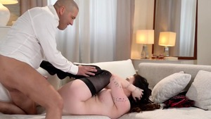 Riding a dick with busty wearing dress