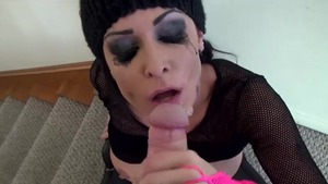 Very sexy emo getting a facial in HD