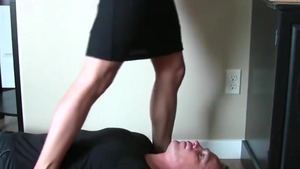 Awesome secretary sniffing in office