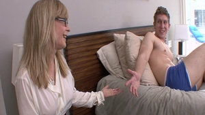 Granny Nina Hartley really enjoys ejaculation in her lingerie