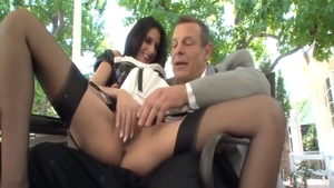 Nikki Daniels in uniform roleplay outdoors