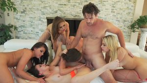 Super hot Mandy Muse gangbang in lingerie