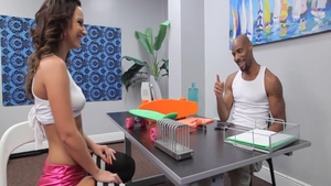 Petite ebony skater Jada Stevens gets raw receiving facial