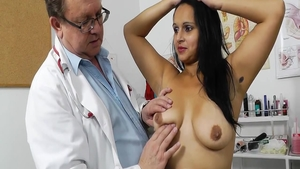 Homemade toys action along with busty doctor