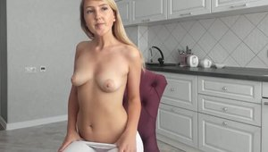 Teen sexy dancing in the kitchen