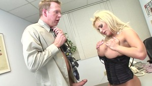 Cumshot in office next to busty MILF