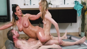 Blonde Cherie Deville in tandem with Aj Applegate sucking cock