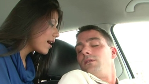 Cock sucking in the company of perfect brunette