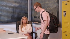 Glamour fake tits cougar Nina Elle after school