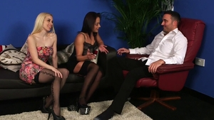 Gorgeous star Nomi Melone in sexy stockings threesome FFM