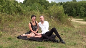 Trimmed pussy brunette submissive dick sucking in public