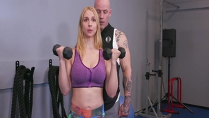 Pussy sex escorted by big tits Sarah Vandella in the gym