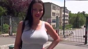 Big tits french brunette blowjob outdoors