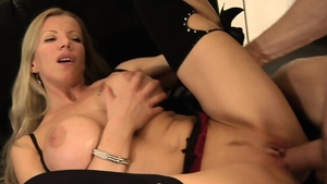 Cumshot escorted by big boobs MILF in sexy lingerie