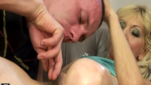 Hairy pussy big ass hungarian granny sucking cock on the couch