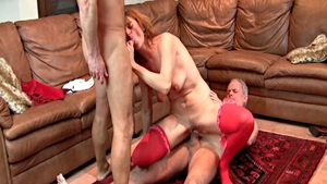Threesome in the company of kinky mature Lucie Theodorova