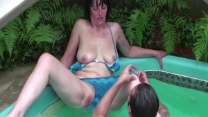 Hairy wife raw fisting in the garden