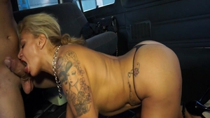 Big boobs babe pussy eating on the backseat