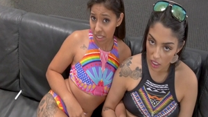 Jasmine Summers in company with Vanessa Sky threesome