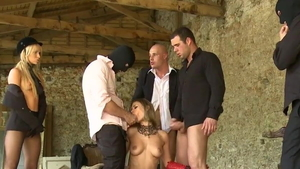 Voyeur gangbang together with skinny Claire Castel HD