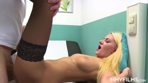 Hottest blonde in stockings fetish ass fucking