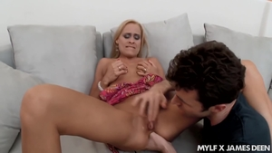 Raw sex along with hairy blonde