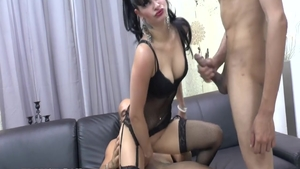 Petite passionate brunette erotic interracial sex on the couch