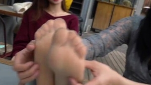 Very cute asian lesbian foot teasing tickle pussy rubbing