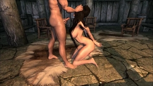 Skyrim hard fucking accompanied by muscled celebrity