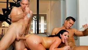Big ass Angela White handjob dick sucking