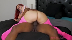 Blowjob starring large boobs hairy ebony redhead