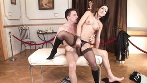 Stepmom Mya Diamond goes for hard nailining in lingerie