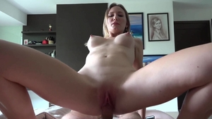 Lustful and tattooed amateur Desert Angel POV cumshot