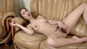 Hairy brunette masturbation at the castings
