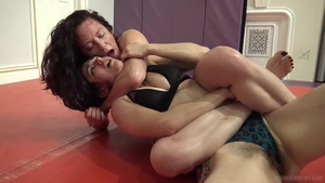 Lesbo pussy rubbing in the gym