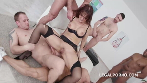 Syren Demer in stockings sucking balls