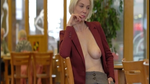 Small tits blonde hair raunchy teasing in public