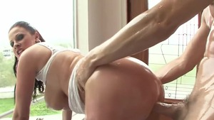 Busty and curvy MILF Gianna Michaels oily rides a hard dick